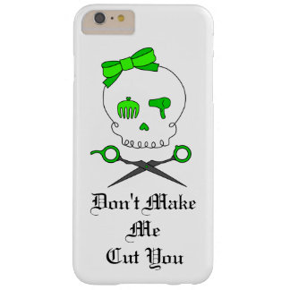 Hair Stylist Skull & Scissor Crossbones - Green #3 Barely There iPhone 6 Plus Case