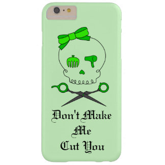 Hair Stylist Skull & Scissor Crossbones - Green #4 Barely There iPhone 6 Plus Case