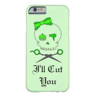 Hair Stylist Skull & Scissor Crossbones - Green #6 Barely There iPhone 6 Case