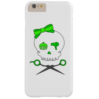 Hair Stylist Skull & Scissor Crossbones - Green Barely There iPhone 6 Plus Case