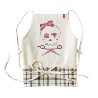 Hair Stylist Skull & Scissor Crossbones - Pink Zazzle HEART Apron