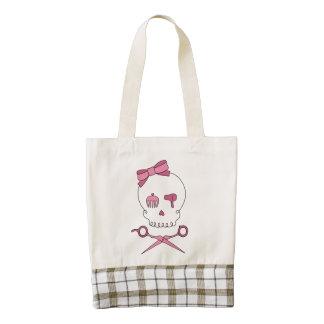 Hair Stylist Skull & Scissor Crossbones - Pink Zazzle HEART Tote Bag