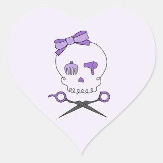 Hair Stylist Skull & Scissor Crossbones - Purple 2 Heart Sticker