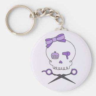 Hair Stylist Skull & Scissor Crossbones - Purple 2 Keychain