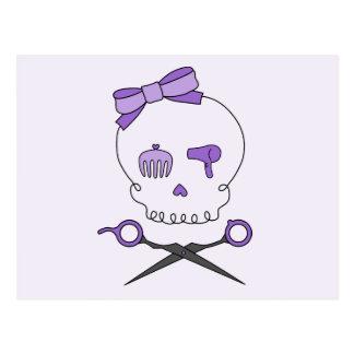 Hair Stylist Skull Scissor Crossbones - Purple 2 Postcard