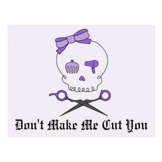 Hair Stylist Skull & Scissor Crossbones - Purple 2 Postcard
