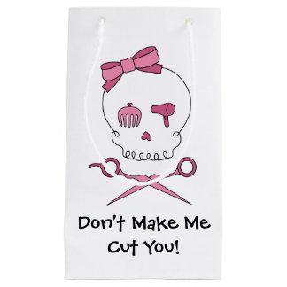 Hair Stylist Skull & Scissor Crossbones - Purple 3 Small Gift Bag