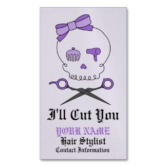 Hair Stylist Skull & Scissor Crossbones - Purple 6 Magnetic Business Cards (Pack Of 25)
