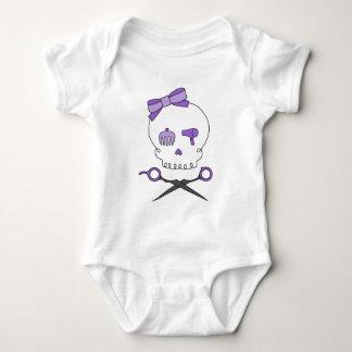 Hair Stylist Skull & Scissor Crossbones - Purple Baby Bodysuit