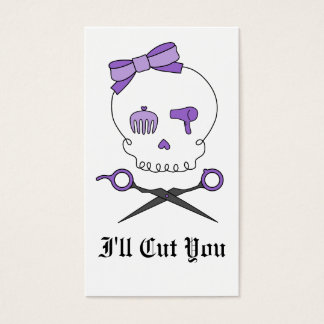 Hair Stylist Skull & Scissor Crossbones - Purple Business Card