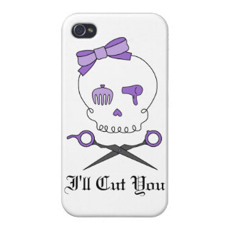 Hair Stylist Skull & Scissor Crossbones - Purple Case For iPhone 4