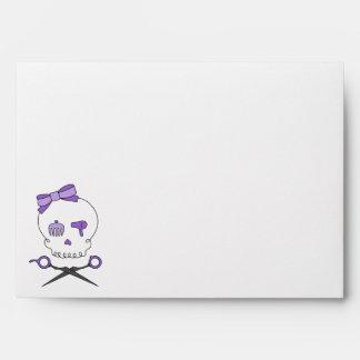 Hair Stylist Skull Scissor Crossbones - Purple Envelopes