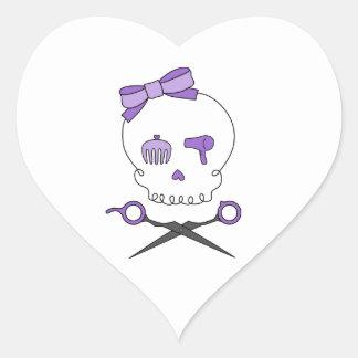 Hair Stylist Skull & Scissor Crossbones - Purple Heart Sticker