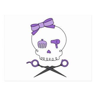 Hair Stylist Skull Scissor Crossbones - Purple Post Cards