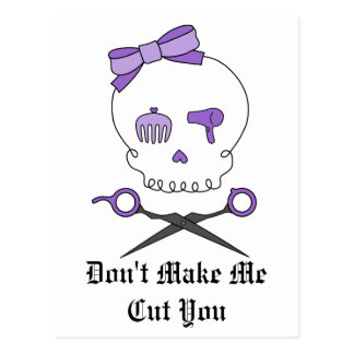 Hair Stylist Skull & Scissor Crossbones - Purple Postcard
