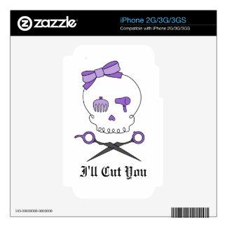 Hair Stylist Skull Scissor Crossbones - Purple Decals For iPhone 3