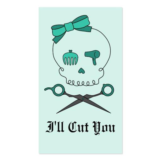 Hair Stylist Skull & Scissor Crossbones -Turquoise Business Card Templates