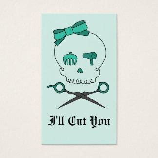 Hair Stylist Skull & Scissor Crossbones -Turquoise Business Card
