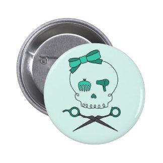 Hair Stylist Skull & Scissor Crossbones -Turquoise Button