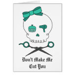 Hair Stylist Skull & Scissor Crossbones -Turquoise Greeting Cards