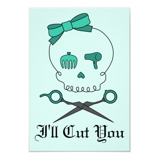 Hair Stylist Skull & Scissor Crossbones -Turquoise Card