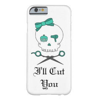 Hair Stylist Skull & Scissor Crossbones -Turquoise Barely There iPhone 6 Case