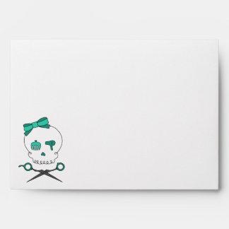 Hair Stylist Skull Scissor Crossbones -Turquoise Envelope