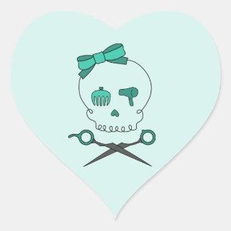 Hair Stylist Skull & Scissor Crossbones -Turquoise Heart Sticker