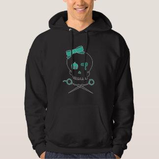Hair Stylist Skull & Scissor Crossbones -Turquoise Hoodie