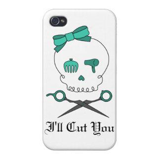 Hair Stylist Skull & Scissor Crossbones -Turquoise iPhone 4/4S Case
