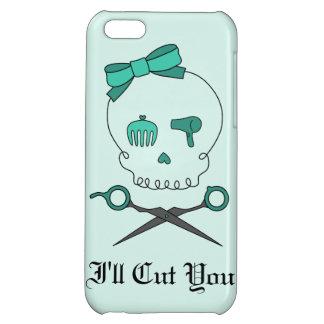 Hair Stylist Skull & Scissor Crossbones -Turquoise iPhone 5C Case