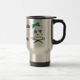 Hair Stylist Skull & Scissor Crossbones -Turquoise 15 Oz Stainless Steel Travel Mug