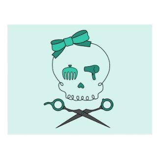 Hair Stylist Skull Scissor Crossbones -Turquoise Post Card