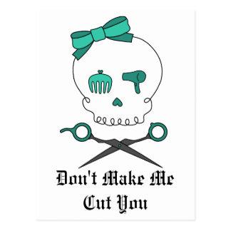 Hair Stylist Skull Scissor Crossbones -Turquoise Post Cards