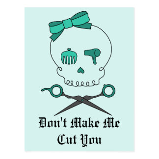 Hair Stylist Skull Scissor Crossbones -Turquoise Postcards