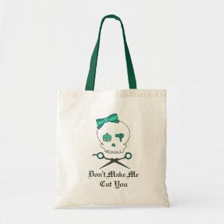 Hair Stylist Skull & Scissor Crossbones -Turquoise Tote Bag