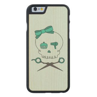 Hair Stylist Skull & Scissor Crossbones -Turquoise Carved® Maple iPhone 6 Case