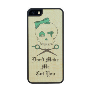 Hair Stylist Skull & Scissor Crossbones -Turquoise Carved® Maple iPhone 5 Case