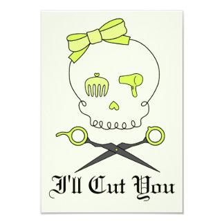 Hair Stylist Skull & Scissor Crossbones -Yellow #2 Card