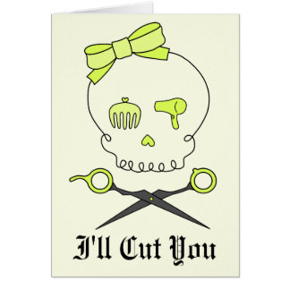 Hair Stylist Skull & Scissor Crossbones -Yellow #2 Card