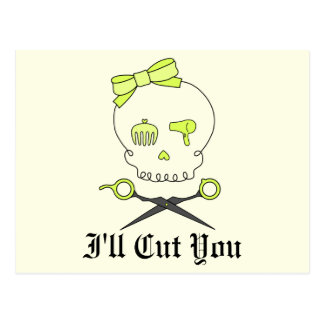 Hair Stylist Skull & Scissor Crossbones -Yellow #2 Postcard
