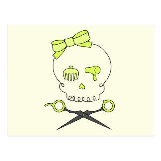 Hair Stylist Skull Scissor Crossbones -Yellow 2 Postcards