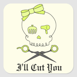 Hair Stylist Skull & Scissor Crossbones -Yellow #2 Square Sticker