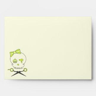 Hair Stylist Skull Scissor Crossbones -Yellow 4 Envelope