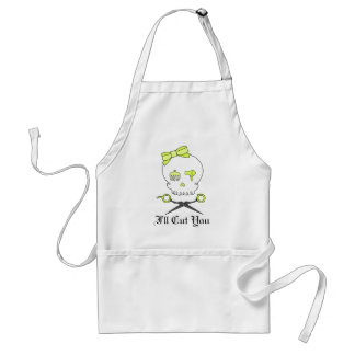 Hair Stylist Skull & Scissor Crossbones -Yellow Adult Apron