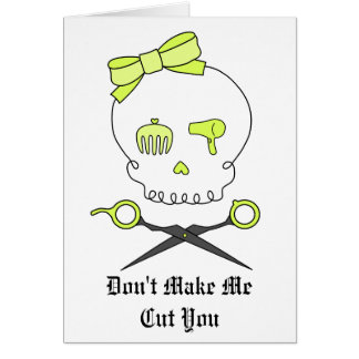 Hair Stylist Skull & Scissor Crossbones -Yellow Card