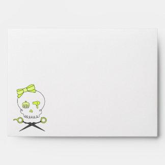 Hair Stylist Skull Scissor Crossbones -Yellow Envelopes