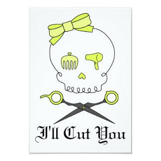 Hair Stylist Skull & Scissor Crossbones -Yellow Invitations