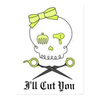 Hair Stylist Skull Scissor Crossbones -Yellow Postcards