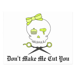 Hair Stylist Skull Scissor Crossbones -Yellow Post Card